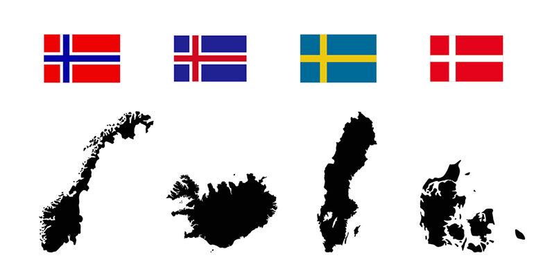 Iceland, Norway, Sweden, Denmark